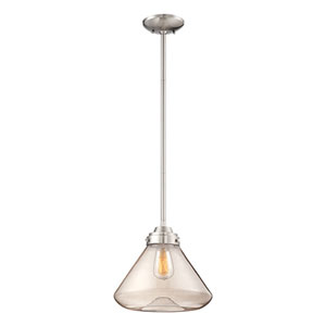 Brushed Nickel One Light 12.5-in Pendant with Clear Glass