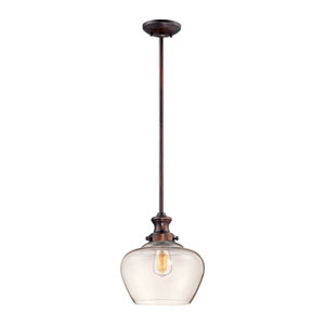 Rubbed Bronze One Light 11-in Pendant with Clear Glass