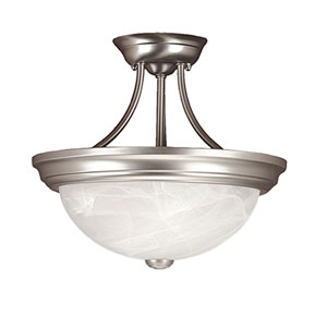Satin Nickel Two-Light Semi-Flush with Faux Alabaster Glass