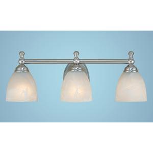 Satin Nickel Three-Light Bath Light with Faux Alabaster Glass