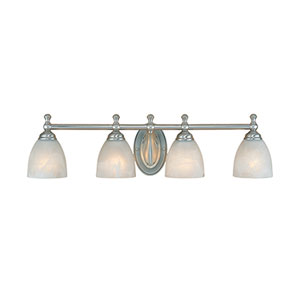 Satin Nickel Four-Light Bath Light with Faux Alabaster Glass