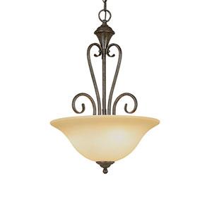 Devonshire Burnished Gold Three-Light Pendant with Florentine Scavo Glass
