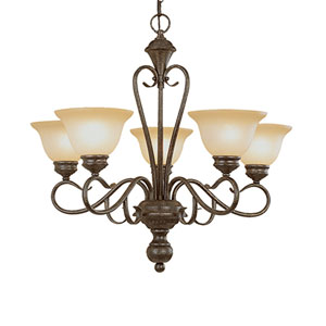 Devonshire Burnished Gold Five-Light Chandelier with Florentine Scavo Glass