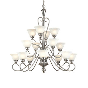 Devonshire Satin Nickel Sixteen-Light Chandelier with Faux Alabaster Glass