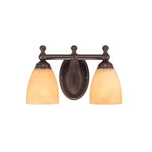 Euro Bronze Two-Light Bath Light with Turinian Scavo Glass