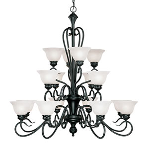 Devonshire Black Sixteen-Light Chandelier with Faux Alabaster Glass