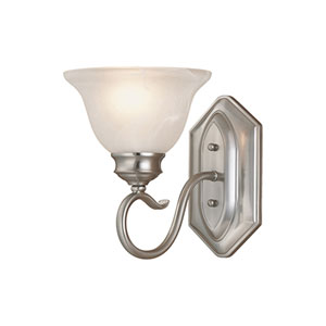 Devonshire Satin Nickel One-Light Sconce with Faux Alabaster Glass