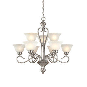 Devonshire Satin Nickel Nine-Light Chandelier with Faux Alabaster Glass