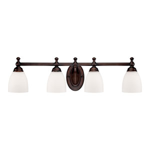 Rubbed Bronze Four-Light Bath Fixture w/ Etched White Glass