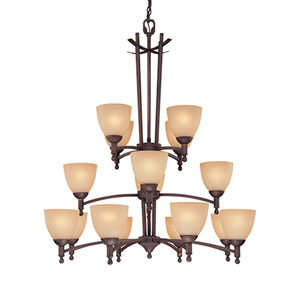 Racine Rubbed Bronze Sixteen-Light Chandelier with Florentine Scavo Glass