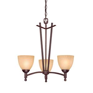 Racine Rubbed Bronze Three-Light Chandelier with Florentine Scavo Glass