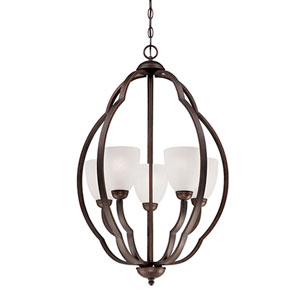 Camilla Rubbed Bronze Five Light Chandelier with Light India Scavo Glass