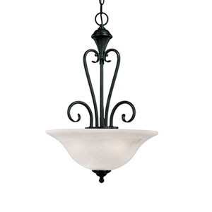 Devonshire Black Three-Light Pendant with Faux Alabaster Glass