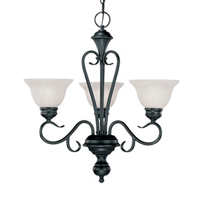 Devonshire Black Three-Light Chandelier with Faux Alabaster Glass