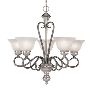 Devonshire Satin Nickel/Silvermist Five-Light Chandelier with Faux Alabaster Glass