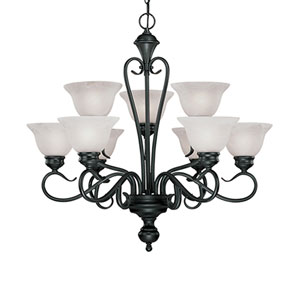 Devonshire Black Nine-Light Chandelier with Faux Alabaster Glass