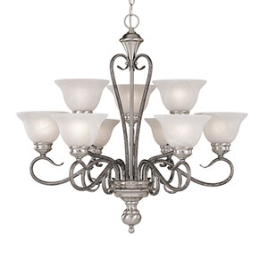 Devonshire Satin Nickel/Silvermist Nine-Light Chandelier with Faux Alabaster Glass
