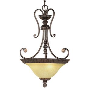 Brunswick Burnished Gold Three-Light Pendant with Florentine Scavo Glass