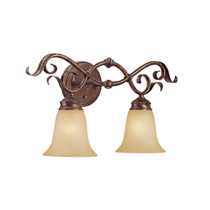 Burled Bronze/Silver Two-Light Bath Light with Florentine Scavo Glass