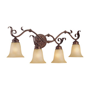 Burled Bronze/Silver Four-Light Bath Light with Florentine Scavo Glass
