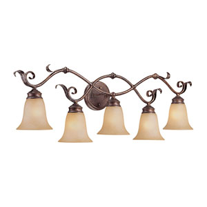 Burled Bronze/Silver Five-Light Bath Light with Florentine Scavo Glass