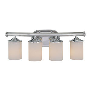 Chrome Four-Light Bath Light with Etched White Glass