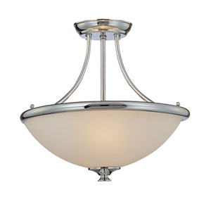 Chrome Three-Light Semi-Flush with Faux Alabaster Glass