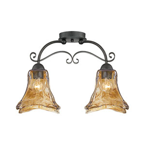 Chatsworth Burnished Gold Two-Light Semi-Flush with Umber Swirl Glass