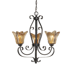 Chatsworth Burnished Gold Three-Light Chandelier with Umber Swirl Glass