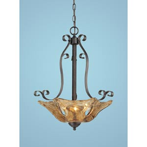 Chatsworth Burnished Gold Three-Light Pendant with Umber Swirl Glass