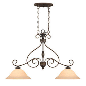 Alma Bronze/Gold Two-Light Island Pendant with Turinian Scavo Glass
