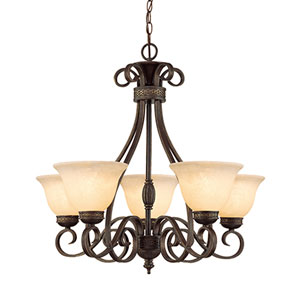 Alma Bronze/Gold Five-Light Chandelier with Turinian Scavo Glass
