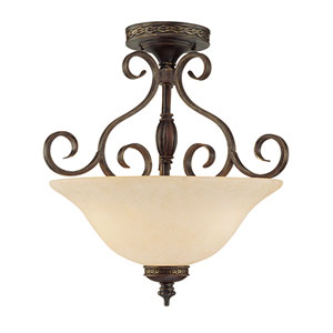 Alma Bronze/Gold Three-Light Semi-Flush with Turinian Scavo Glass