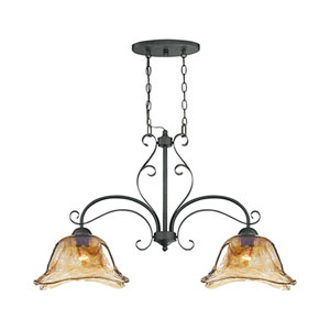 Chatsworth Burnished Gold Two-Light Island Pendant with Umber Swirl Glass