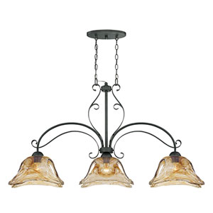 Chatsworth Burnished Gold Three-Light Island Pendant with Umber Swirl Glass