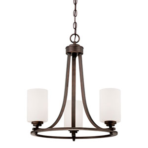 Bristo Rubbed Bronze Three Light Chandelier with Etched White Glass