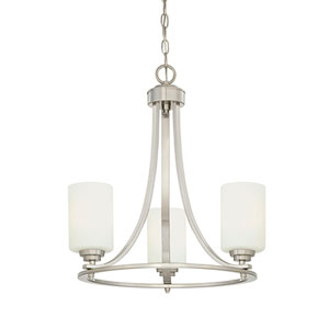 Bristo Satin Nickel Three-Light Chandelier with Etched White Glass