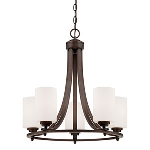 Bristo Rubbed Bronze Five Light Chandelier with Etched White Glass