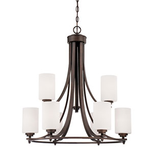 Bristo Rubbed Bronze Nine Light Chandelier with Etched White Glass