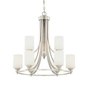 Bristo Satin Nickel Nine-Light Chandelier with Etched White Glass