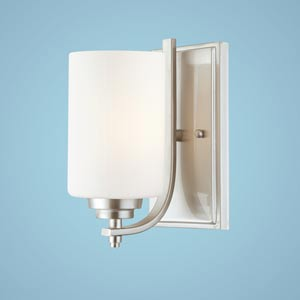 Bristo Satin Nickel One-Light Sconce with Etched White Glass