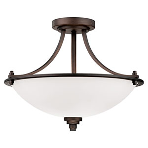 Bristo Rubbed Bronze Three Light Semi-Flush Fixture with Etched White Glass