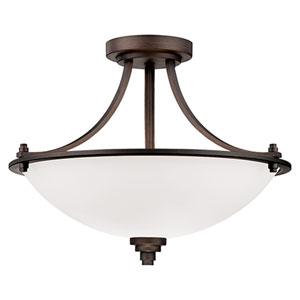 Bristo Rubbed Bronze Three Light Semi-Flush Fixture with Etched White Glass