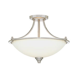 Bristo Satin Nickel Three-Light Semi-Flush with Etched White Glass
