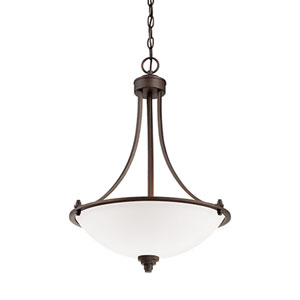 Bristo Satin Nickel Three Light Pendant with Etched White Glass