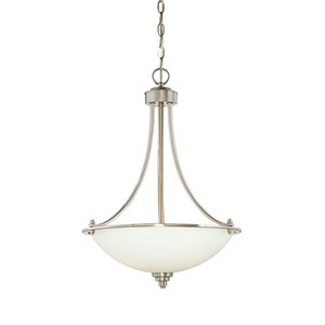 Bristo Satin Nickel Three-Light Pendant with Etched White Glass