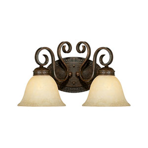 Alma Bronze and Gold Two-Light Bath Fixture