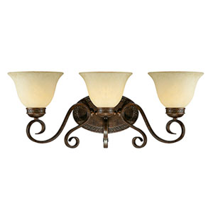 Alma Bronze and Gold Three-Light Bath Fixture
