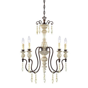 Denise Antique White and Bronze Five-Light Chandelier Ceiling Light