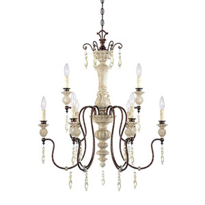 Denise Antique White and Bronze Nine-Light Chandelier Ceiling Light